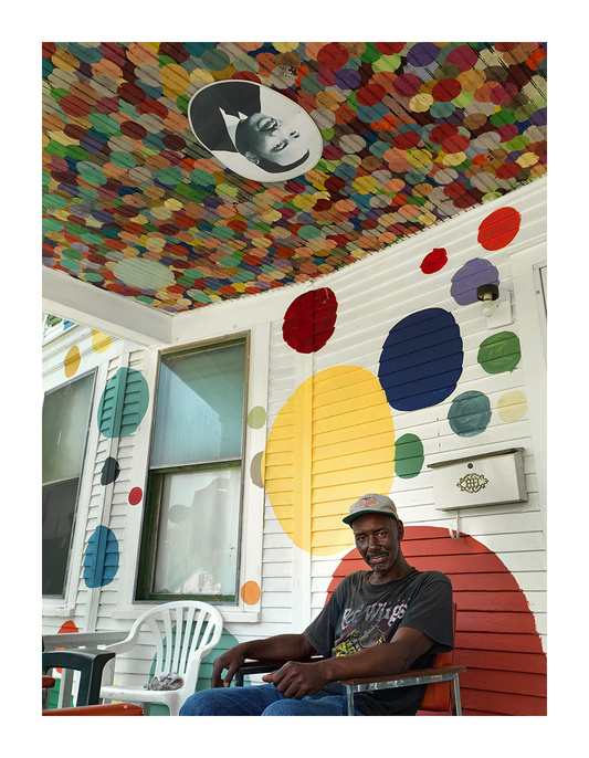 Lynn Guyton on His Front Porch, Heidelberg Street, Eastside, Detroit 2010