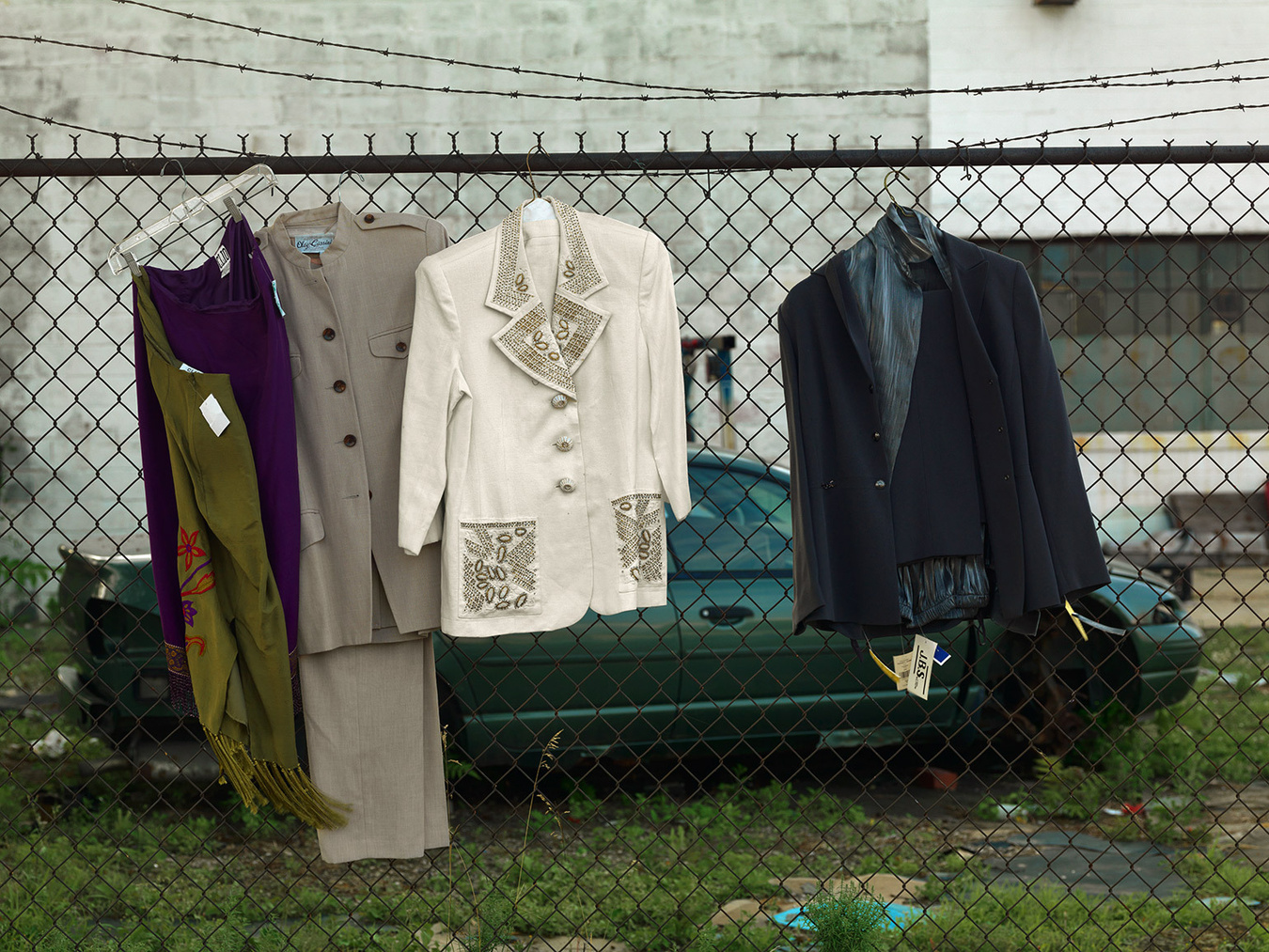 Items of Clothing Left on a Fence, East Warren Ave., Detroit 2014